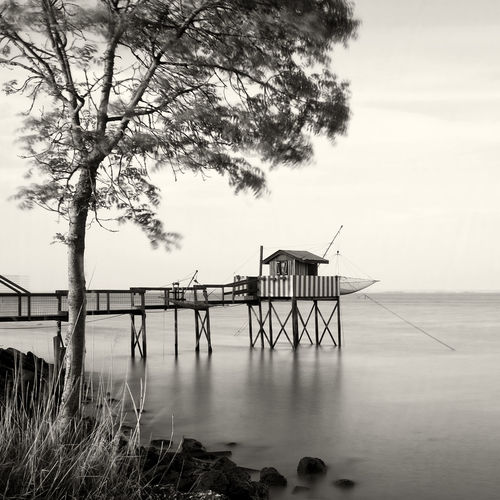 Carrelet Monochrome Photography Fishing Cottage CarreletFrance Built Structure Architecture Water Pier Lake Tranquil Scene Sea Sky Tranquility Calm Nature Day Ocean Waterfront Outdoors Cloud Scenics Shore No People Solitude EyeEm Best Shots - Landscape