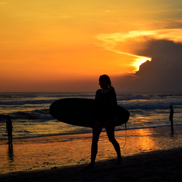 Surfing in Bali Bali Bali Beach Bali, Indonesia Beach Beautiful Cloud - Sky Clouds And Sky Horizon Over Water Nature Ocean Red Sky Sky Sun Sunset Surf Surf Girl Surfing Tourism Tourist Water