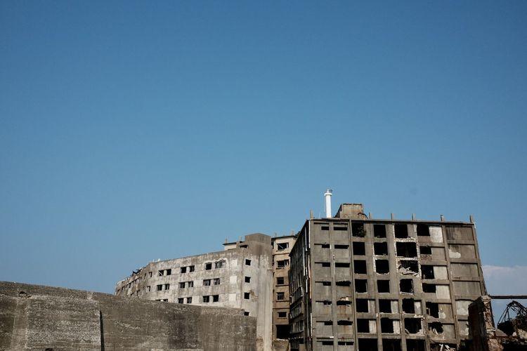 Close up of world heritage site gunkanjima hashima island abandoned city