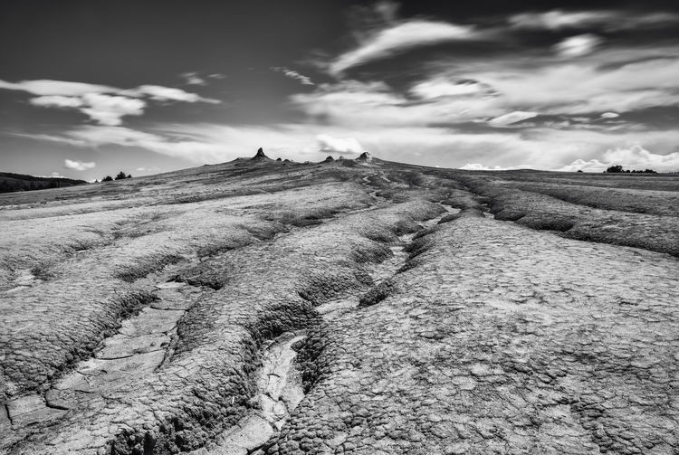 Beauty In Nature Black And White Cloud Cloud - Sky Cloudy Hill Landscape Long Exposure Mars Mountain Nature No People Non-urban Scene Rock - Object Rock Formation Sky Tranquil Scene Volcanic Landscape