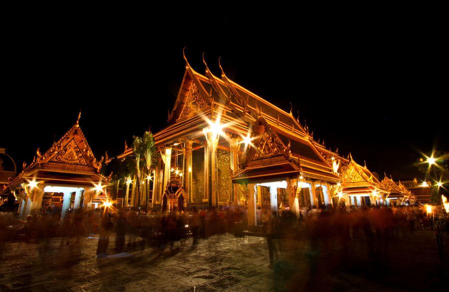 Inside Wat Pra Kaew at night Architecture Buddhism Building Exterior Built Structure Illuminated Night No People Outdoors Place Of Worship Religion Sky Spirituality Wat Pra Kaew