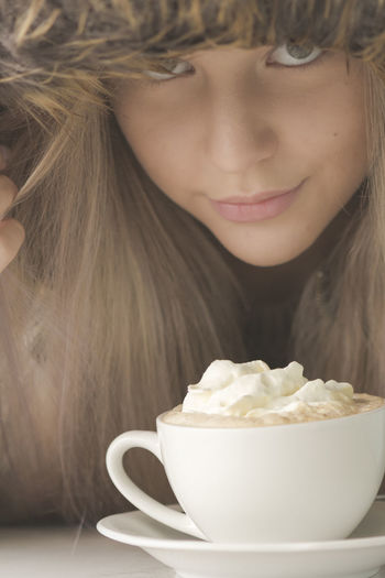 Coffee Looking At Camera Blond Hair Bowl Cappuccino Childhood Close Up Close-up Day Drink Food Food And Drink Freshness Girls Headshot Hood Hot Chocolate Human Eyes Indoors  One Person People Ready-to-eat Real People Selective Focus Sweet Food