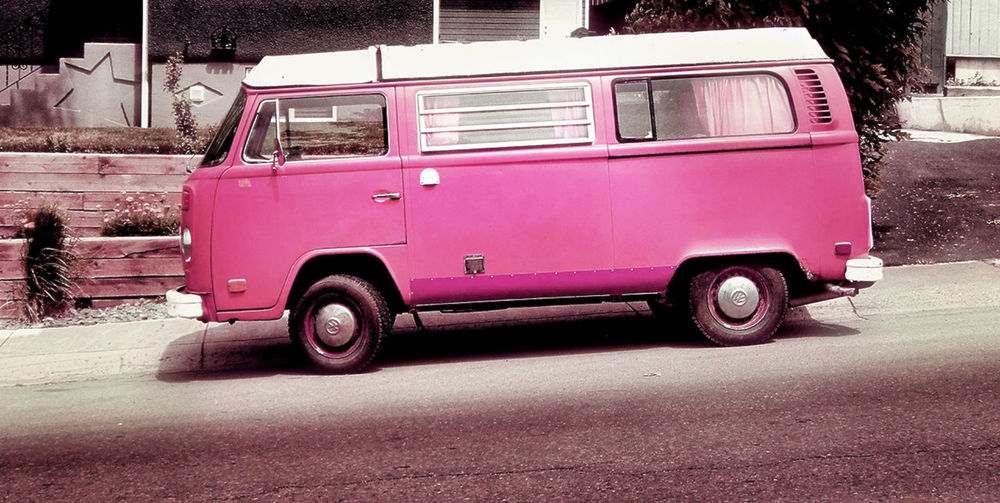 pink pink pink :) Building Exterior City Life Classic Car Mode Of Transport Outdoors Parked Pink Retro Road Side View Stationary Transportation Van Vantastic Vintage VW VW Bus