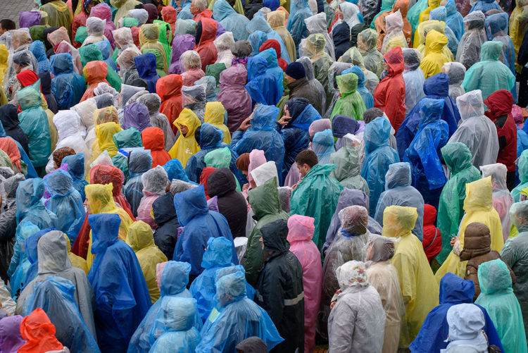 High angle view of people wearing raincoat