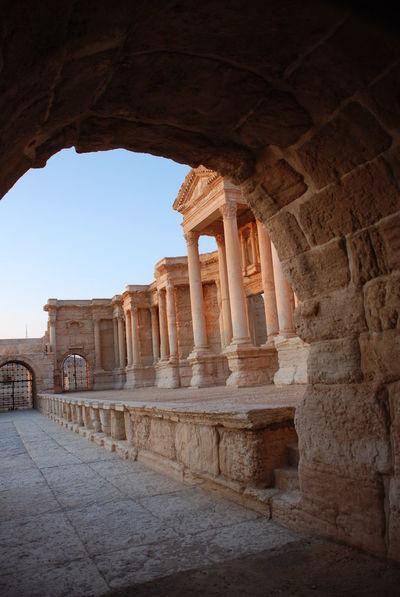 Ancient Ancient Civilization Ancient History Arch Archaeology Architectural Column Architecture Built Structure History Old Ruin Palmyra Palmyra Ruins Roman Architecture Roman Theater Syria  The Past Tourism Travel Destinations Vandalised