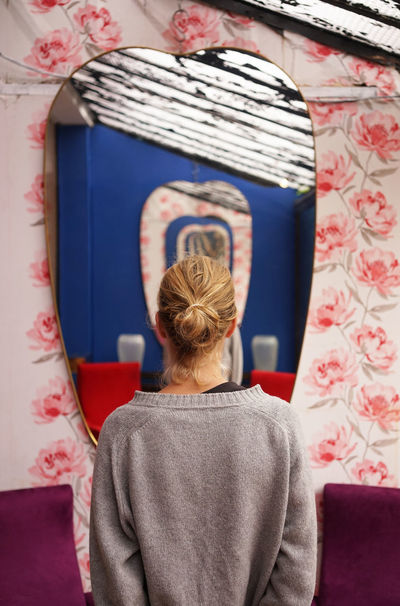 Art Is Everywhere Blond Hair Close-up Day Indoors  Leisure Activity One Person People Pink Pink Color Real People Rear View Women Young Adult Fresh On Market 2017