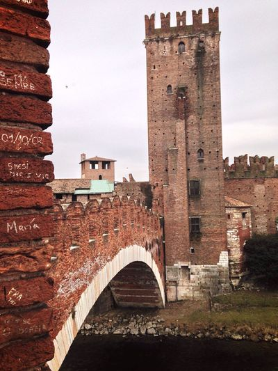 FEBRUARY 14  45/365 2017 Castelvecchio Verona Verona Italy Veneto Italy Architecture Built Structure Building Exterior History Tower Travel Destinations Steps Brick Wall Sky Clear Sky Fort Outdoors Day No People One Year Project