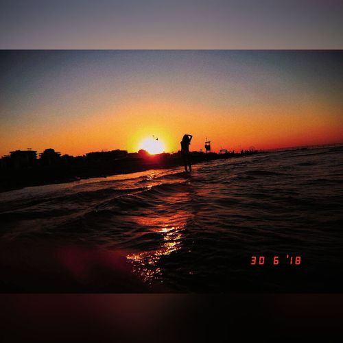 Kujicam Summer See Sunset Sun Rimini Beach Water Sunset Sea Men Silhouette Orange Color Sky First Eyeem Photo