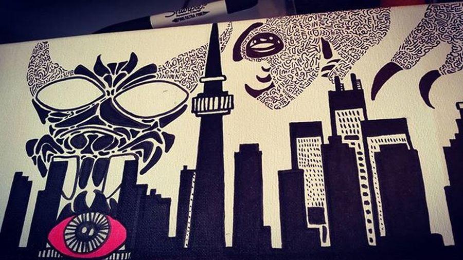 the eye-dome Methodtomymadness Artinprogress Canvas Skyline Eye Rogerscentre Skydome The6ix Sharpies  Blacksharpie Blackandpink ArtForLife Art Random Toronto The6 Drawing