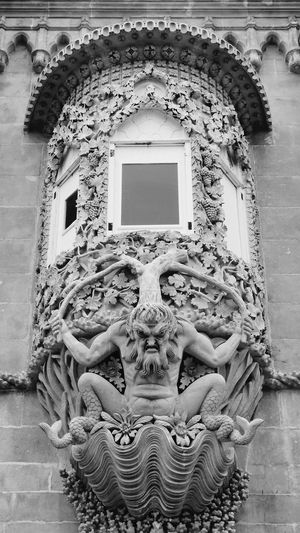 Architecture Window History Built Structure Close-up Building Exterior Outdoors Old Decoration Palacio Da Pena - Sintra Sintra (Portugal) Ornate Architecture Stone Cravings Stone Art Work. Sculpture Detail Sculpture Shophisticated Black And White