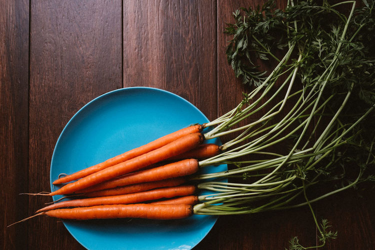 Close-up of carrots on table