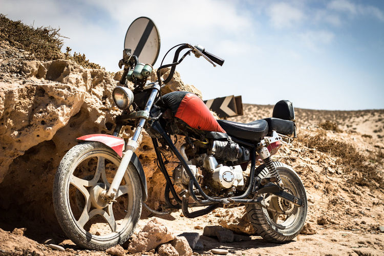 Lonly Motorcycle Transportation Mode Of Transportation Motorcycle Nature Land Dirt Day Adventure Outdoors Land Vehicle Sunlight Cloud - Sky Sky Landscape Lonly Day Agadir Morocco Extreme Sports