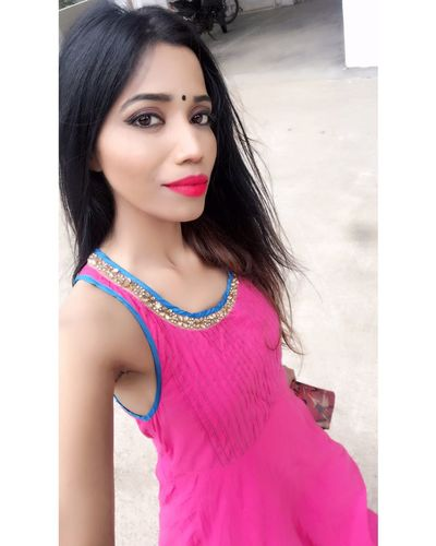 EyeEm Selects Beautiful Woman Long Hair Black Hair Looking At Camera Day Pink Color Fashion Model Fashion Posing Close-up Model Elégance Glamour Tanyasingh Models Actress Tanya Singh Pink Lipstick  Beauty Standing Smiling Tanya Singh Women Fashion