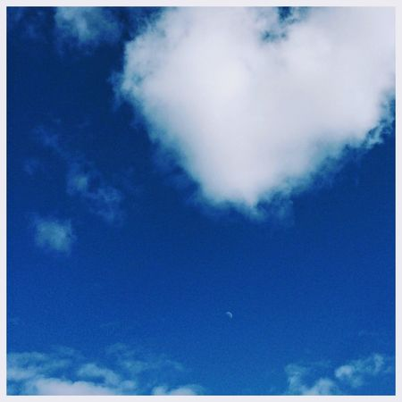 A Cloud Heart above The Moon. Astronomy Sky Only Blue Backgrounds Sky Cloud - Sky The Still Life Photographer - 2018 EyeEm Awards EyeEmNewHere