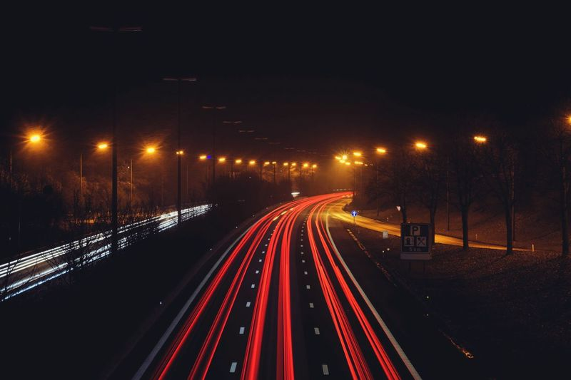 Illuminated Night Motion Long Exposure Light Trail Transportation Street Light Speed On The Move Blurred Motion No People City Outdoors Sky Highway Highways&Freeways High Angle View Highway View Europe Road Car Trails Car Light Nightphotography Night Lights Night Sky