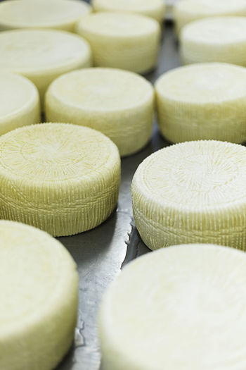 Full frame shot of cheese wheels on table
