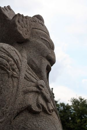 Ancient Chinese style stone sculpture in Wat Suthat Thepwanaram Bangkok, Thailand. Thailand Photos Wat Suthat Ancient Chinese Style Close-up Cloud - Sky Day Focus On Foreground Low Angle View Nature No People Outdoors Sculpture Sky Statue Stone Sculpture
