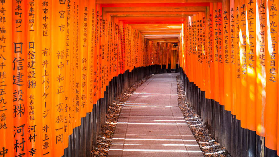 Empty footpath amidst torii gates at fushimi inari shrine
