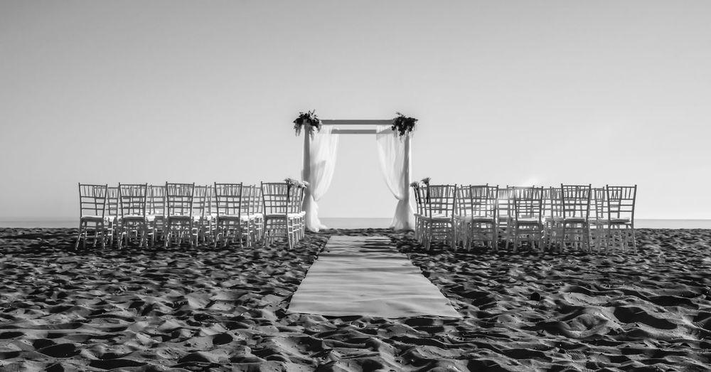 Baldachin Wedding Wedding Photography Baldachine Beach Black And White Blackandwhite Blackandwhite Photography Chairs Day Horizon Over Water Nature No People Outdoors Sand Sea Sky Wedding Baldachine