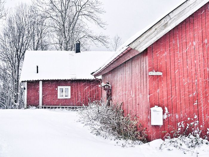 Snow covered built structure