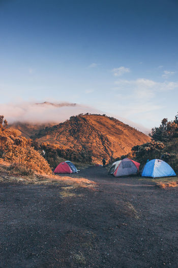 Scenic view of merbabu mountain against sky