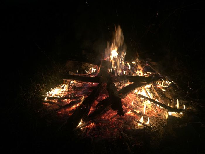 Summer Solstice Fire Burning Flame Night Heat - Temperature Glowing Bonfire No People Dark Outdoors Campfire Motion Summer Solstice