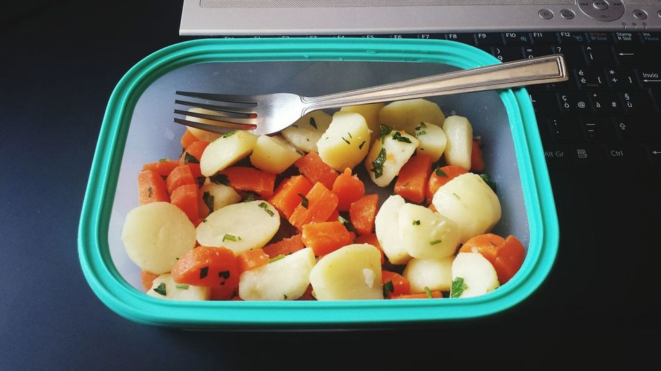 healthy lunch at workstation Architecture ARCHITECT Engineering Food Food At Work Potatoes Carots Salad Time Healthy Eating Healthy Food Healthy Lifestyle Architect Life