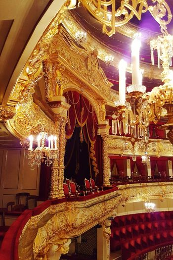 Gold Colored Illuminated Lighting Equipment Gold Shiny No People Indoors  Exhibition Theatre Seats Royal Royal Box Seats Light Gold Wealth Concert Hall  Bolshoi Theater Bolshoi Theatre Theatre Theater Luxury Architecture