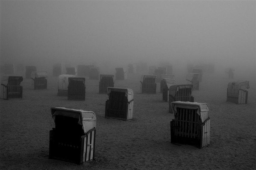 Strandkorb Ostsee Fog Black And White