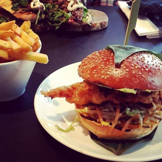 Nom nom nom soft shell crab burger with a side of garlic and rosemary chips from Kopapa Softshellcrab Burger