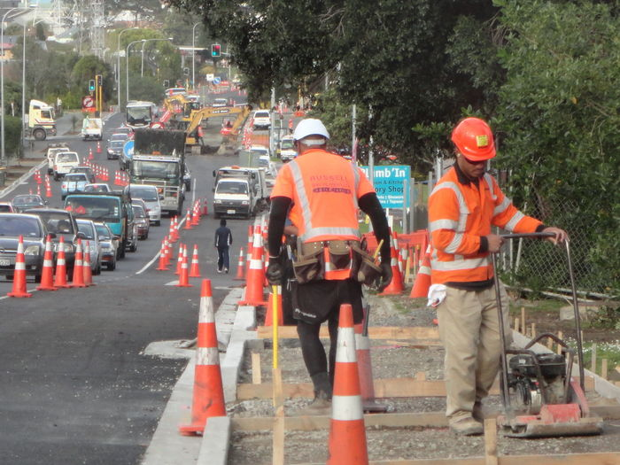 Busy Site Footpath Outdoors Pedestrian Walkway Road Road Construction- Safety First Transportation