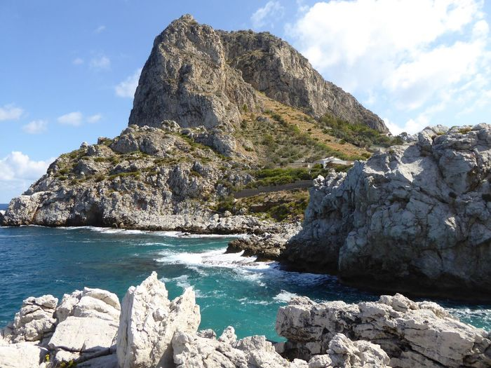 Sicily, Italy Sky Rock Water Rock - Object Cloud - Sky Solid Beauty In Nature Outdoors Mountain Day Tranquil Scene Sea Sunlight Rock Formation No People Tranquility Scenics - Nature Nature Idyllic Land