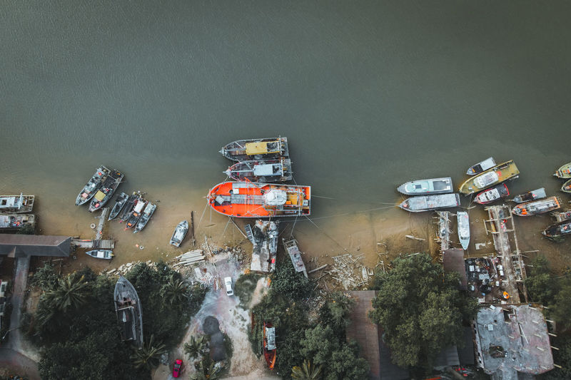High angle view of cars on shore