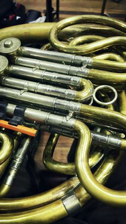 French Horn Music Arts Culture And Entertainment No People Indoors  Backgrounds Close-up Wind Instrument Day Brass Instruments Symphonic Concert Orchestral My Passion Vintage Instruments Practicing Music Rotary Valves