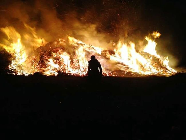 Fire Beautiful Burning Wood Flames & Fire Kneeling Down Kneeling Girl Passion