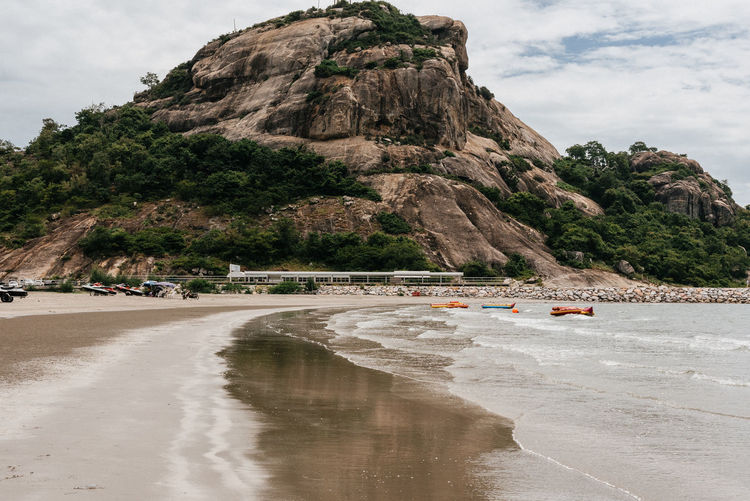 Mountain at khao takiab huahin. Water Sky Beach Mountain Land Nature Transportation Sea Day Beauty In Nature Scenics - Nature Sand Cloud - Sky Outdoors Rock
