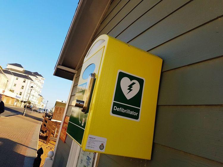 Defibrillator Yellow Close Up