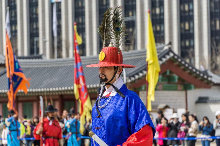 Castle King Korea Music Seoul Tourist Tourist Attraction  Ceremony Events Flag Guard Gyeongbokgung Palace, Seoul Palace Royal Guard Seriusface Travel Destinations Walking