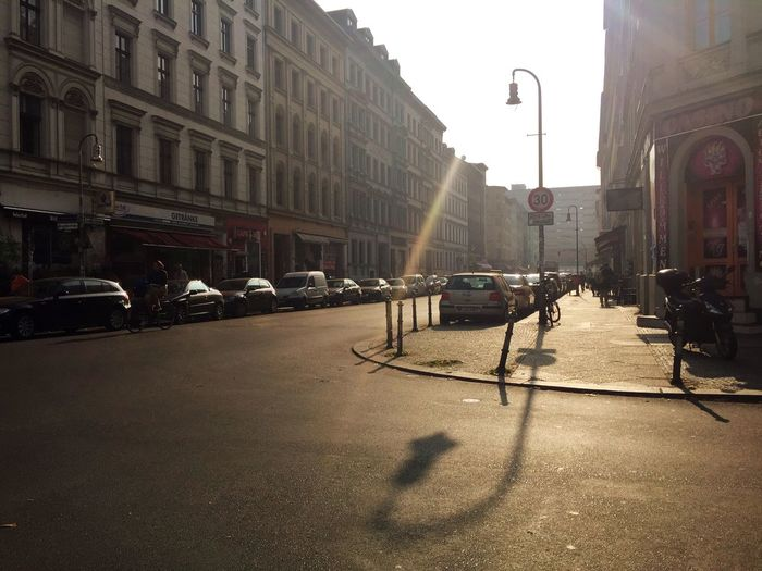 Afternoon Light Silhouette Lamp Post Street Architecture Transportation Car Building Exterior City Street Light Built Structure City Life Road Outdoors Day Sky No People