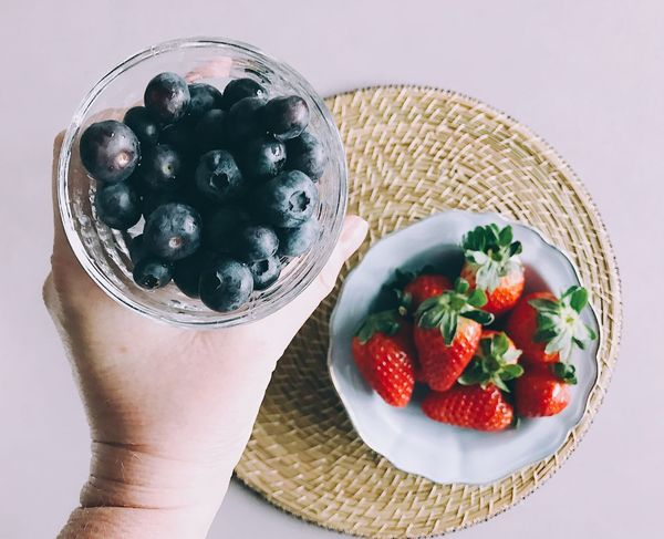 Fruit Healthy Eating Food Food And Drink Freshness Bowl Human Hand Holding Berry Fruit Blueberry Table Real People One Person Close-up Ready-to-eat Day