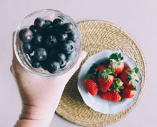 Fruit Healthy Eating Food Food And Drink Freshness Bowl Human Hand Holding Berry Fruit Blueberry Table Real People One Person Close-up Ready-to-eat Day Berries Berries Collection Blueberries Strawberries Strawberry Headshot Healthy Food And Drink Freshness