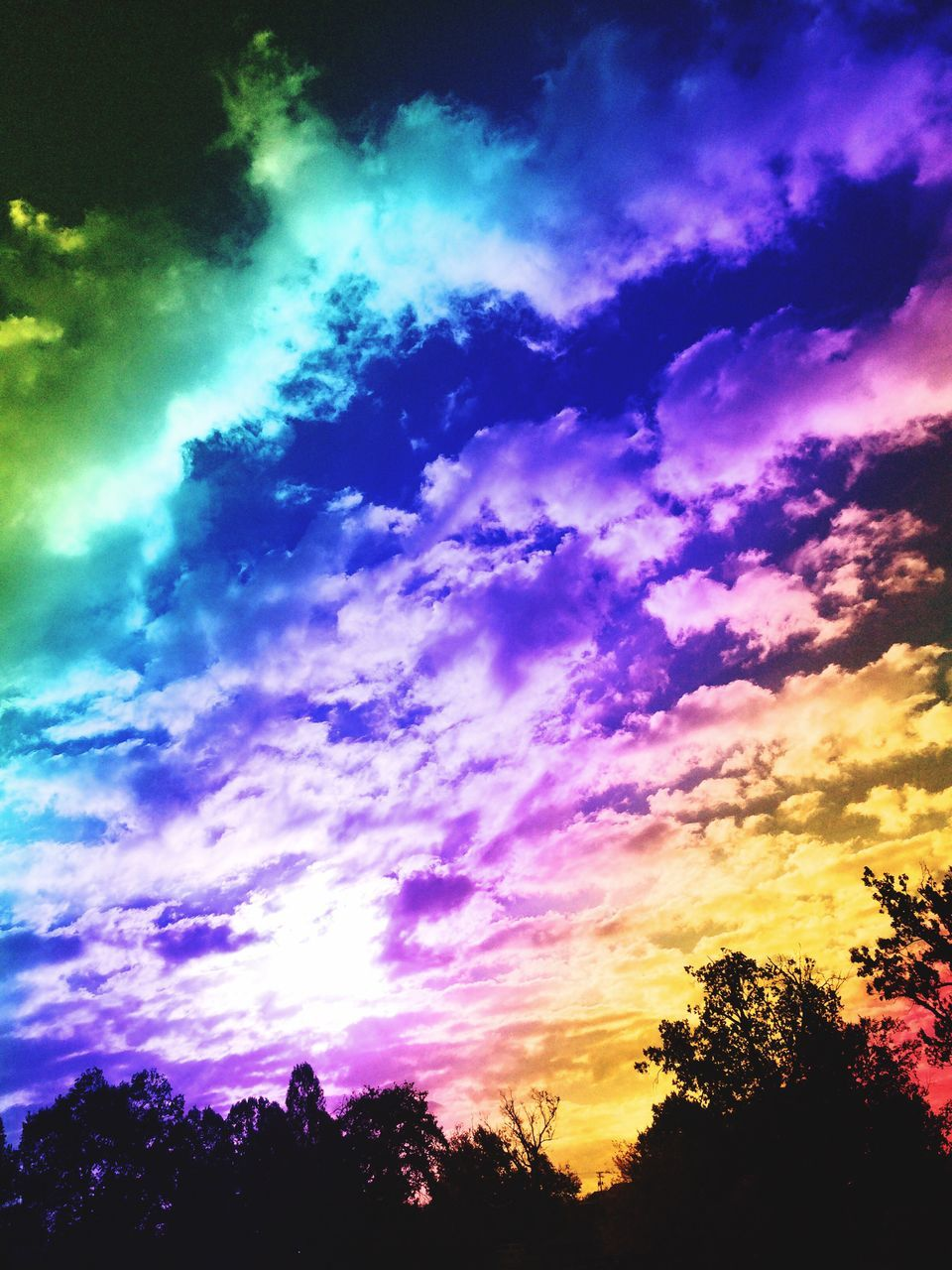 sky, silhouette, sunset, cloud - sky, beauty in nature, scenics, nature, tree, dramatic sky, tranquil scene, no people, tranquility, low angle view, multi colored, outdoors, day