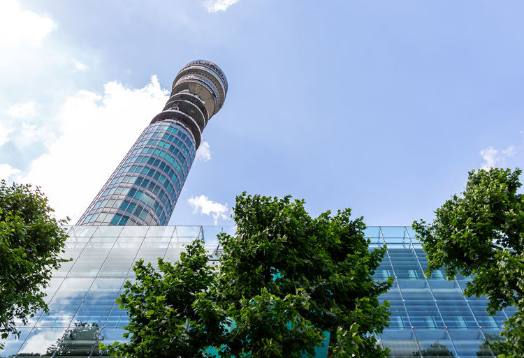 BT Tower Architecture Building Exterior Built Structure City Cloud - Sky Day Low Angle View Modern No People Outdoors Sky Skyscraper Tree