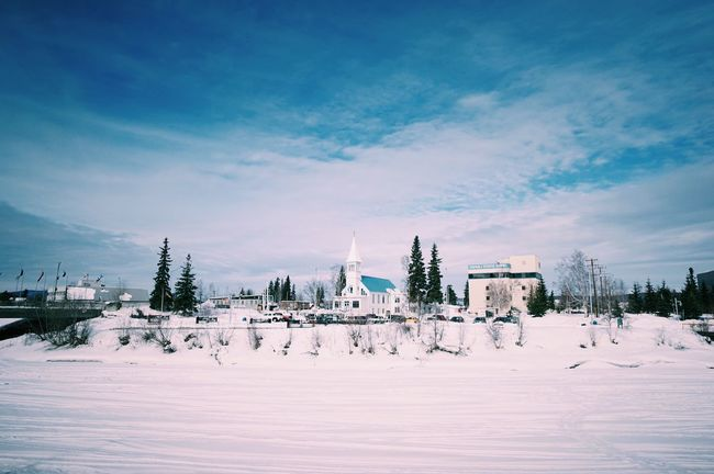 Good Morning, Fairbanks // Winter Snow Cold Temperature Sky Building Exterior Built Structure Architecture Weather Nature Outdoors Scenics Day Transportation Beauty In Nature Tranquil Scene Tree Tranquility Mountain No People Ski Lift