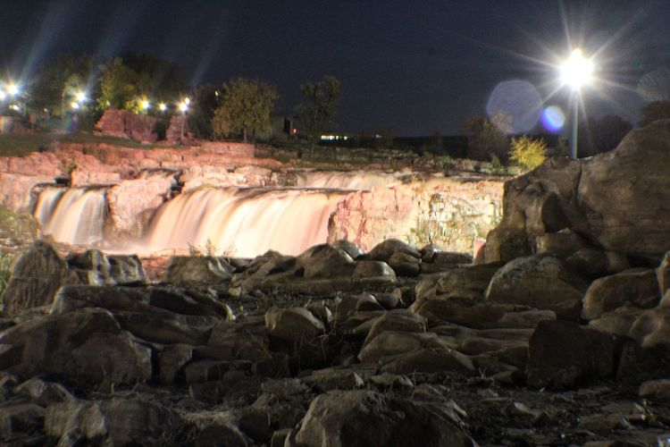 View of rock formations at night