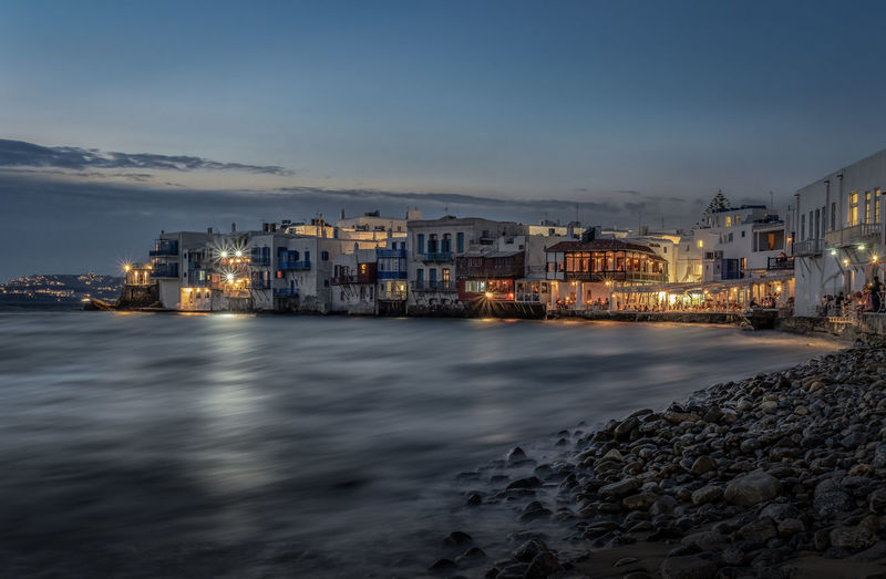 Architecture Building Building Exterior Built Structure City Cloud - Sky Dusk Illuminated Little Venice Motion Mykonos Nature Night No People Outdoors Residential District Sea Sky Transportation Water Waterfront