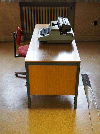 Gedankstätte, Berlin, Stasi 70s Absence Chair Empty Flooring Furniture Interogation Room Office Old-fashioned Table Wood Wooden Writing Machine