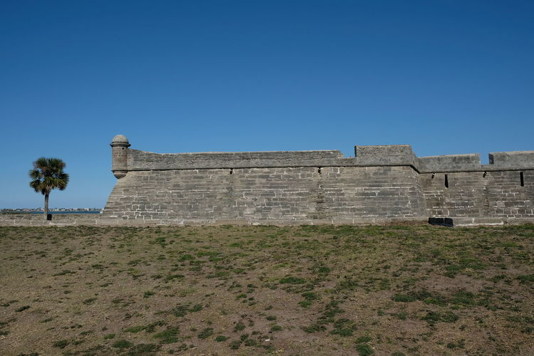View of fort against blue sky