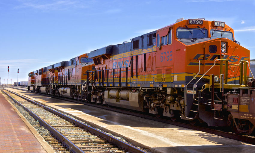 Overkill? Clear Sky Day Freight Transportation Locomotive Mode Of Transport No People Outdoors Public Transportation Rail Transportation Railroad Track Sky Sunlight Train - Vehicle Transportation