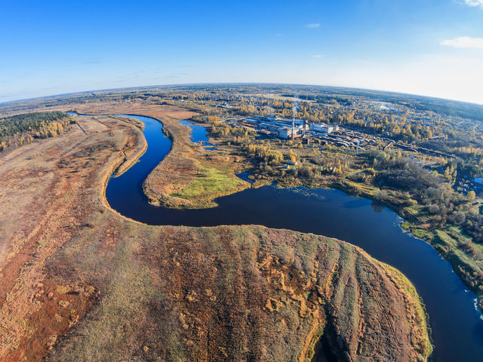 Aerial view of the factory, the river Mologa and settlement Maksatikha A Bird's Eye View Aerial Aerial View Beauty In Nature Blue Day Drone  High Up Landscape Nature No People Outdoors Scenics Sky Top Perspective Water
